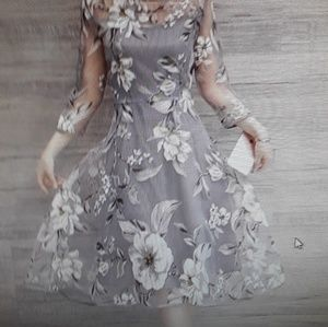 Dresses & Skirts - Silver Mesh Floral A-line Dress Fully Lined, M